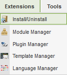 Extension Manager Joomla 1.5
